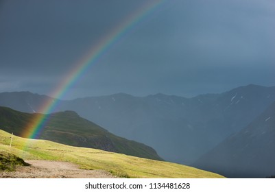 Beautiful Colorful rainbow over the Colorado Mountains