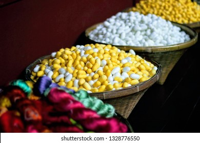 Beautiful and colorful silk made of  natural protein fiber, some forms of which can be woven into textiles. The best-known silk is obtained from the cocoons of the larvae of the mulberry silkworm.