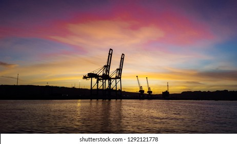 Beautiful and colorful sky of balochistan at Gawadar port Harbor Pakistan - sunset in the gawadar port