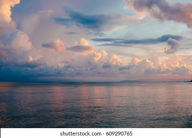 Beautiful colorful sky and calm sea on sunset. Nature background