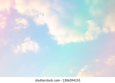 Beautiful colorful sky pastel with white clouds for background for background.