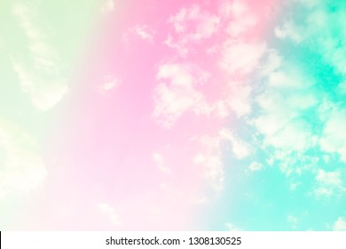 Beautiful colorful sky pastel with white clouds for background .