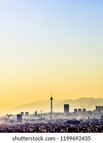 beautiful and colorful skyline of Tehran city. vertical cityscape of Tehran-Iran with milad tower in the middle.