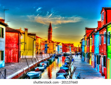 beautiful colorful small houses in a raw at Burano island near Venice Italy. HDR processed