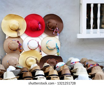 Beautiful colorful sun hats for man and woman for sale. Background.