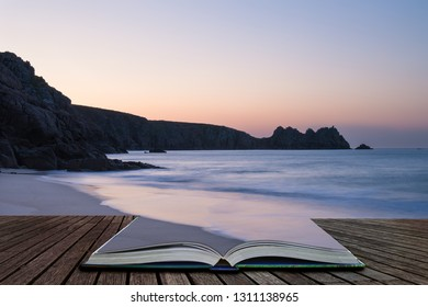 Beautiful colorful sunrise landscape image of Porthcurno beach on South Cornwall coast in England coming out of pages in magical story book