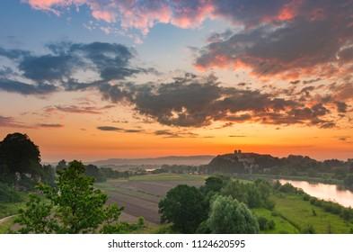 Beautiful colorful sunrise landscape, Tyniec near Krakow, Poland