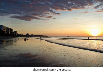 Beautiful colorful sunset at the beach in Manta, Ecuador