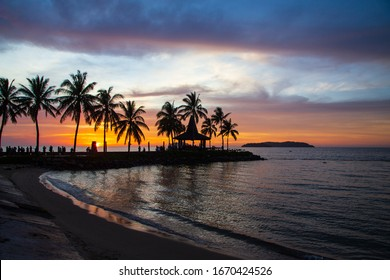 Beautiful Colorful sunset on the beach