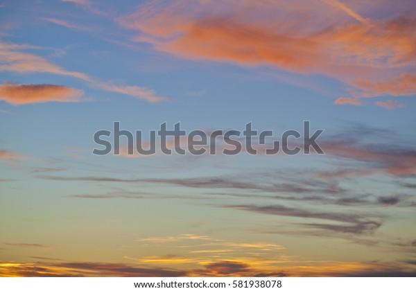 Beautiful colorful sunset over Adriatic sea