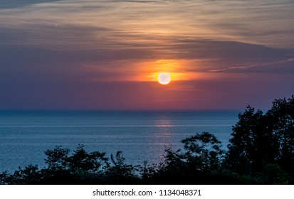 beautiful colorful sunset over Lake Michigan in the USA