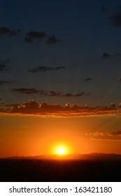 Beautiful, Colorful Sunset over the Mountains in Phoenix, Arizona USA