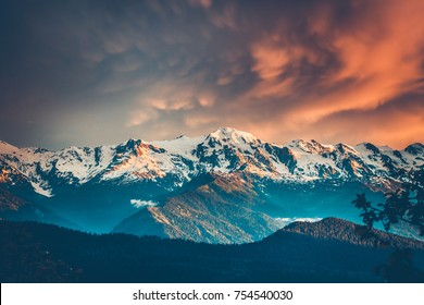 Beautiful colorful sunset over the snowy mountain range and pine tree forest. Nature landscape. Dramatic overcast sky with orange clouds. Main Caucasian ridge, Svaneti, Georgia. Retro toning filter