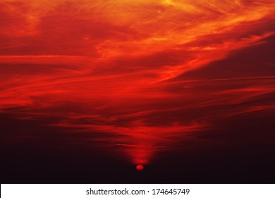 Beautiful and colorful sunset. Red color.