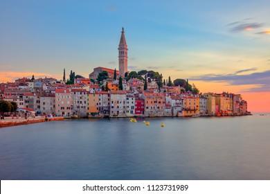 Beautiful colorful sunset at Rovinj town in Croatia, Europe