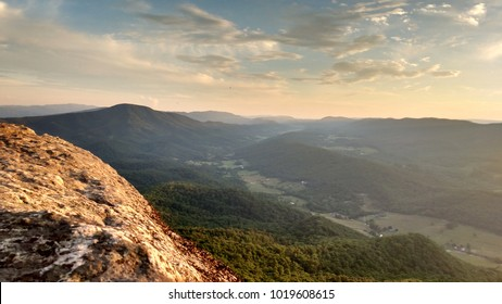 Beautiful colorful sunset at Tinker Cliffs, Appalachian Trail, Virginia, USA