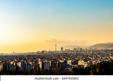 beautiful and colorful Tehran-Iran skyline at sunset.