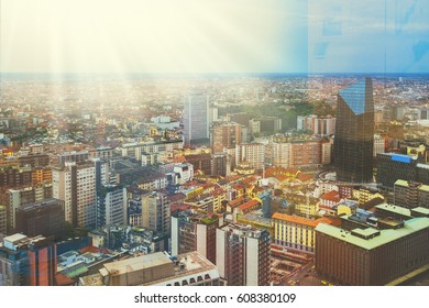 Beautiful colorful toned image of Milan, Italian urban cityscape with skyscrapers and different buildings on the streets and background with the sunset