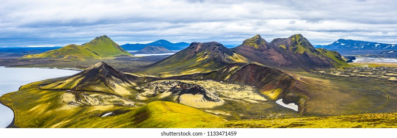 Beautiful colorful volcanic mountains Landmannalaugar in Iceland, summer time, panorama