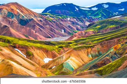 Beautiful colorful volcanic mountains Landmannalaugar in Iceland, summer time