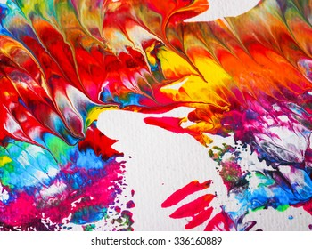 beautiful colorful of water acrylic arts painting on white paper abstract background texture