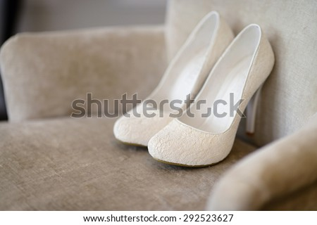 c4d403e91d9 Beautiful colorful wedding shoes for bride indoors. Beauty of bridal heel  for marriage. Female