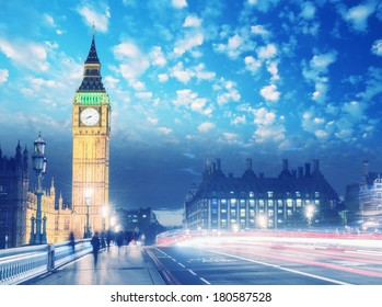 Beautiful colors of Big Ben from Westminster Bridge at Sunset - London. Vintage elook