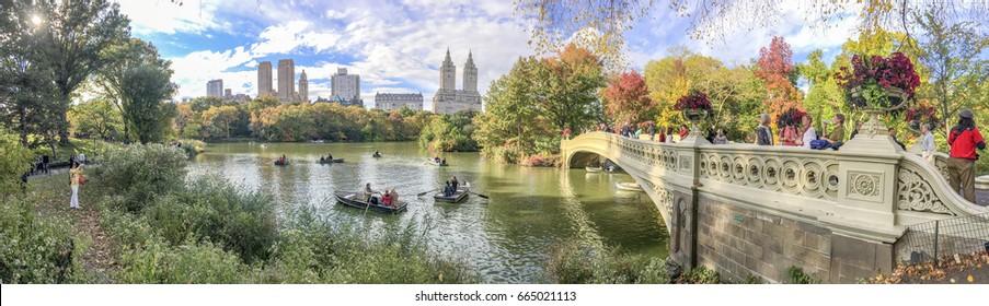Beautiful colors of Central Park in foliage season, panoramic view - New York City.