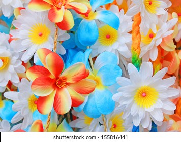 beautiful colors of plastic flowers.