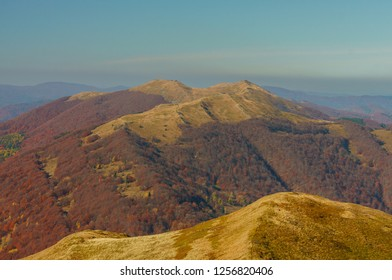 Beautiful colors of Polish mountains. Bieszczady Mountains. Wetlinska alipne meadow. Bieszczady National Park