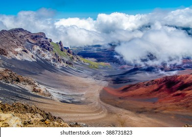 The beautiful colors seen in the massive volcanic crater at Haleakala National Park on the island of Maui, Hawaii.