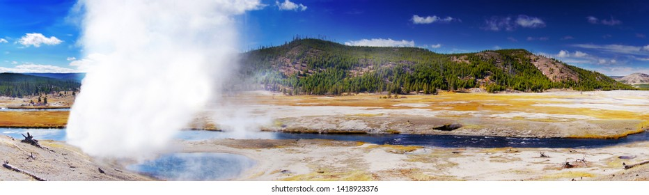Beautiful colors in sunny day, Yellowstone National Park, Wyoming, panoramic view