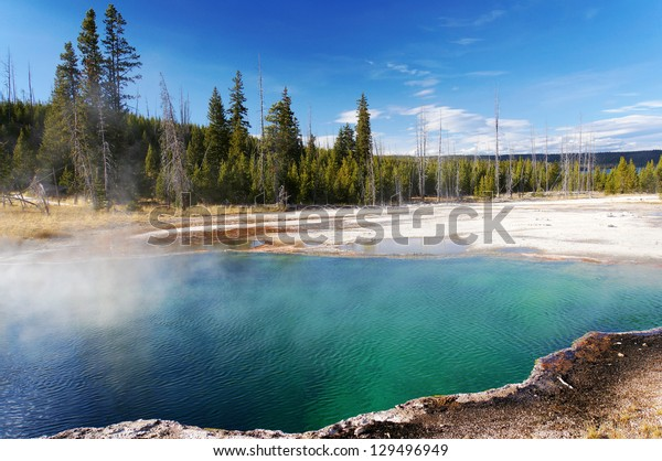 Beautiful colors in sunny day, Yellowstone National Park, Wyoming