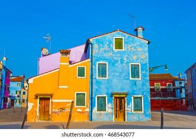 Beautiful and colourful buildings of Burano, Venetian lagoon, Venice, Italy.