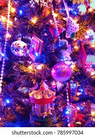 Beautiful and colourful Christmas ornaments decorations lights up in united states.