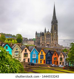 The beautiful and colourful deck of card houses in front of St. Colman Cathedral.