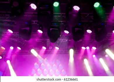 Beautiful Colourful disco lighting in the stage