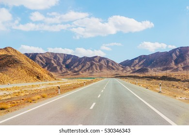 Beautiful colourful scenery of the mountains, hills and valley and the highway in Qinghai province right near the Tibet province border