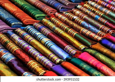 beautiful and colourful silk and cotton scarfs