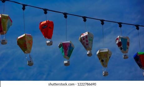 Beautiful colourful street lanterns in Penang