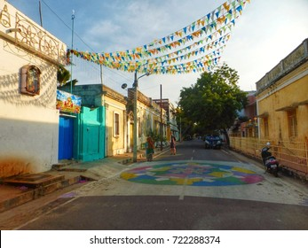 a beautiful, colourful street in Puducherry, also known as Pondicherry. It is a French colonial town in the south east of india, asia