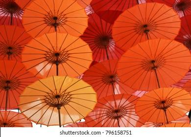 Beautiful colourful yellow orange umbrellas