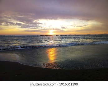 The beautiful colours and sunset at the beach.