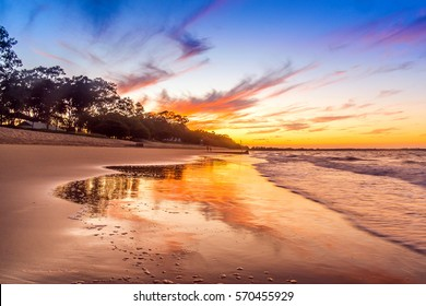 The Beautiful colours of a Sunset from the Sub tropical City of Hervey bay,Queensland,Australia