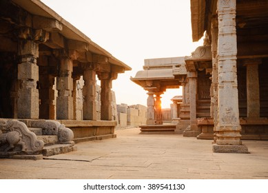 Beautiful columns architecture of ancient ruins of Hazara Rama temple in Hampi, Karnataka, India