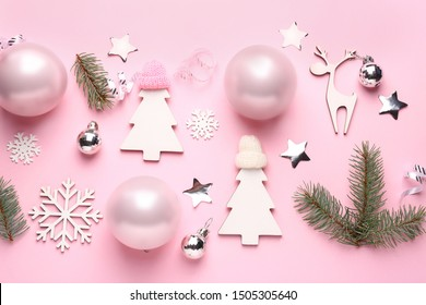 Beautiful composition with Christmas decor on color background