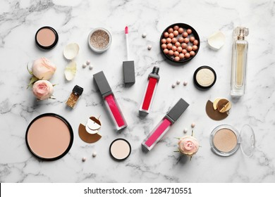 Beautiful composition with lipsticks on light background, flat lay