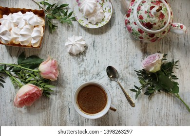 beautiful composition.  Morning.  Breakfast. Flat lay concept.