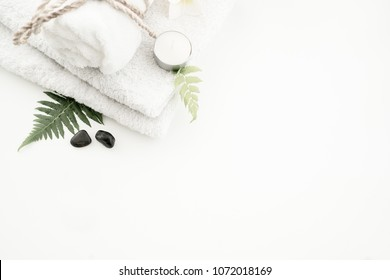 Beautiful composition of spa treatment on white  table