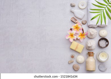 Beautiful composition of spa treatment on gray background. Concept spa background , Copy space for your text